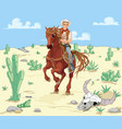 horse riding cowboy vector image