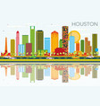 houston skyline with color buildings blue sky and vector image vector image