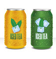 iced tea tin package with tea leaf vector image vector image