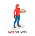 isomeric fast and free delivery concept delivery vector image vector image