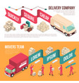 isometric delivery moving banner set vector image vector image