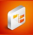 Isometric folder tree icon isolated on orange