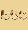 isometric hotel furniture elements set vector image