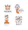 logos for beauty salon or natural cosmetics vector image vector image