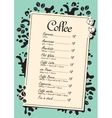 menu list for coffee vector image vector image