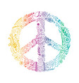 peace symbol made of hippie theme doodle vector image