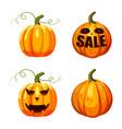 pumpkin icon set cartoon style vector image