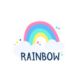 rainbow and clouds on a white background object vector image vector image