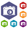 retro camera icons set vector image vector image