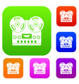 retro tape recorder set color collection vector image vector image