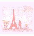 Romantic couple silhouette in Paris kissing near vector image vector image