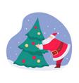 santa claus decorating christmas pine tree vector image vector image