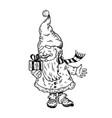 santa gnome and gift box engraving vector image vector image