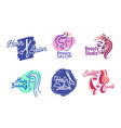set of hair or beauty salon logo isolated labels vector image