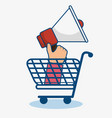 shopping cart and bullhorn icon vector image