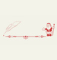 silhouette of santa claus and pen vector image vector image