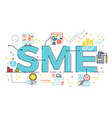 sme small and medium enterprise word lettering vector image vector image