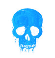 t-shirt print with painted blue skull vector image