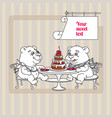 two hand drawn white cute teddy bear eating cake vector image vector image