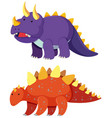 two types of dinosaur on white background vector image