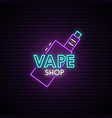 vape shop neon sign neon advertising signboard vector image vector image