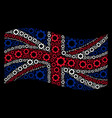 waving united kingdom flag collage of gear icons vector image