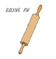 wooden rolling pin pastry kitchen collection vector image