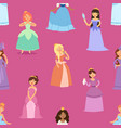 cartoon girl princess characters different vector image