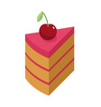 cherry cake piece with berry isolated cherries vector image
