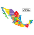 administrative mexico map isolated on white vector image