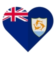 Anguilla flat heart flag vector image