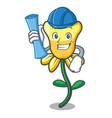 Architect daffodil flower character cartoon