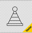 black line party hat icon isolated on transparent vector image vector image