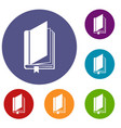 book with bookmark icons set vector image vector image