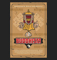 buddhism religion victory banner flag retro poster vector image vector image