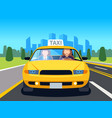 car taxi driver client auto cab inside passenger vector image vector image
