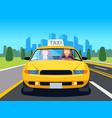 car taxi driver client auto cab inside passenger vector image