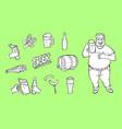 cartoon beer symbols icon monochrome set vector image vector image