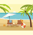 chaise lounge and umbrella on beach summer vector image vector image