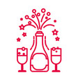 champagne bottle opening and glasses with drink vector image
