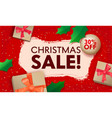 christmas sale banner with typography and wrapped vector image