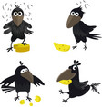 cute crow with cheese seamless pattern vector image vector image