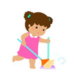 cute girl sweeping the dust on a white background vector image