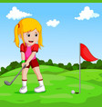 cute little girl playing golf vector image