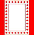 decorative canadian frame with red maple a4 paper vector image vector image