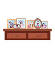 desk icon with photo frames vector image