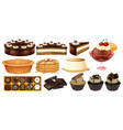 different types of desserts vector image vector image