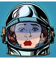 emoticon sadness Emoji face woman astronaut retro vector image vector image