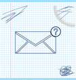 envelope with question mark line sketch icon vector image vector image
