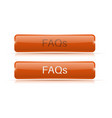 faqs button orange 3d icon normal and active vector image